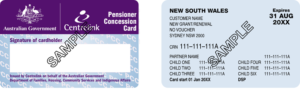 Pensioner Concession Card NSW Sample